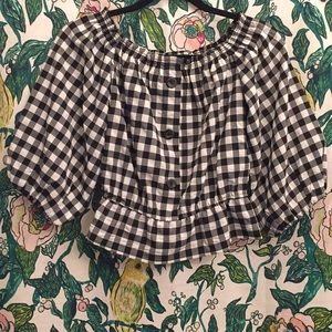 NWT H&M Plaid/Gingham OffThe Shoulder Crop Top